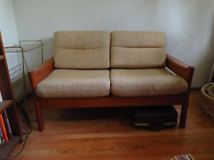 Two Vintage Mid Century Modern Couch Sofa Loveseats
