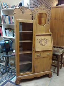 Antique Drop Front Oak Secretary