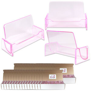 500pc Hq Acrylic Plastic Business Name Card Holder Display Stand clear Pink