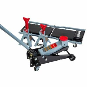 Pro Heavy Duty 3 Ton Rapid Pump Floor Jack Jack Stand Creeper Combo Garage