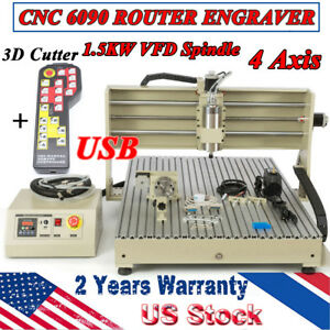 1500w Cnc 6090 4axis Router Engraving Milling Machine Vfd Handwheel Controller