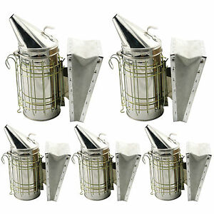 Set Of 5 Bee Hive Smoker Stainless Steel W Heat Shield Beekeeping Equipment