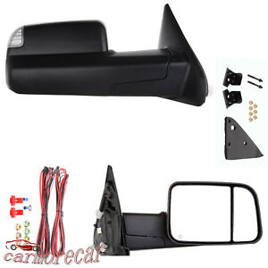 Pair Tow Mirrors Power Heated Led Signal For 02 09 Dodge 1500 2500 3500 Ram