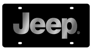 Jeep Carbon Stainless Steel 3d Logo Finish License Plate