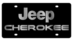 Jeep Cherokee Carbon Stainless Steel 3d Logo Finish License Plate