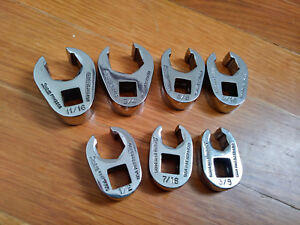 Snap On 3 8 Drive 7pc sae 6 point Flank Flare Nut Crowfoot Wrench