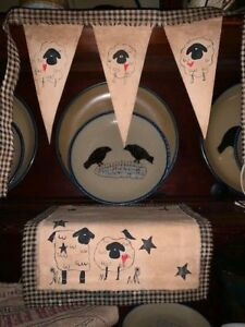 Primitive Spring Valentine Sheep Crow Stars Table Candle Mat Shelf Door Hearts