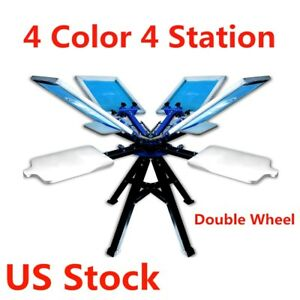 Us Stock 4 Color 4 Station Silk Screen Printing Machine T shirt Printer 2 Wheel