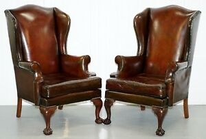 1930 S Pair Of Fully Restored Claw Ball Wingback Cigar Brown Leather Armchairs