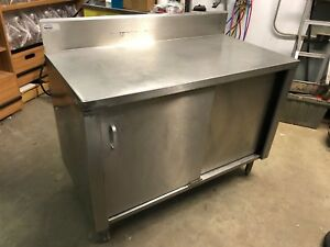 Win holt 4 X 24 Heavy Duty 2 Door Stainless Steel Cabinet Prep Food Work Table