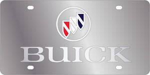 Buick Silver Mirror Polished 3d Finish Logo Stainless Steel License Plate
