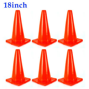 6x 18 Traffic Cones Overlap Parking Construction Emergency Road Safety Cone Pvc
