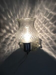 Older Hobnail Glass Wall Fixture Sconce Lamp With Switch Clear Hobnail Glass