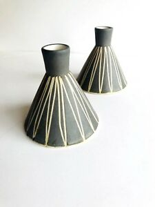 Rare Pair Of Mid Century Modern Studio Pottery Candle Holders By Stanley Ballard