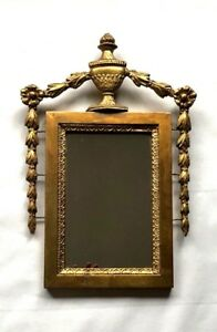 Small Neoclassical Italian Mirror Gesso Gilt Carved Plaster