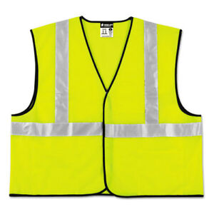 Class 2 Safety Vest Lime Green W silver Stripe Polyester 3x large