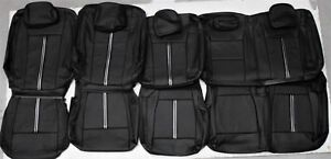 2015 2018 Ford F150 Xlt Supercrew Custom Black Leather Upholstery Seat Cover Set
