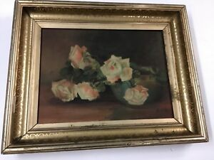 Antique Gold Leaf Frame With Floral Oil Painting