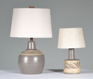 Unusual Set Of 2 Gordon Jane Martz Marshall Studios Ceramic Table Lamps Signed