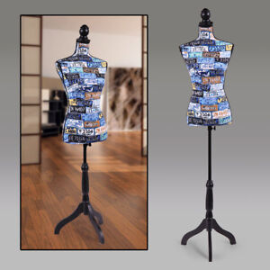 Female Mannequin Torso Clothing Display W black Tripod Stand Colorful