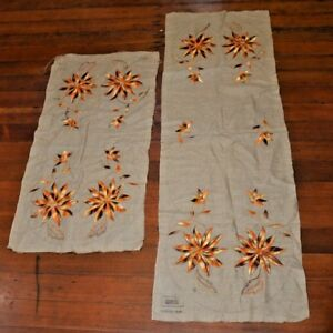 Qty 2 Nancy Lee Stickley Era Linen Embroidered Table Runner 54 X18