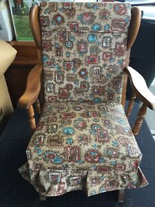 Antique Childrens Kids Upholstered Rocking Chair With Springs Foam