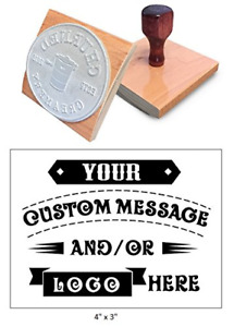 rocker Mount Wood Hand Rubber Stamp With Wooden 4 X 3 Extra Large Custom