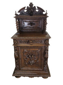 Fantastic French Hunt Server Cabinet Narrow Model 19th Century Oak