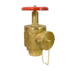 2 1 2 Grooved Angle Fire Hose Valve W Cap Chain Ul fm Rough Brass