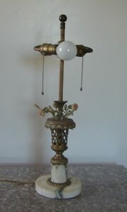 Beautiful Antique French Bronze Marble Lamp With Basket Of Painted Flowers