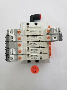 Smc Valve Bank With 4 Pneumatic Solenoid Valves 4 Sy3140
