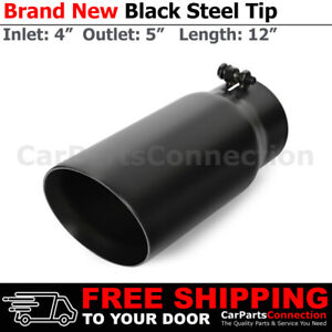 Truck Suv Black 12in Bolt On Exhaust Double Wall Tip 4 In 5 Out Stainless 232633