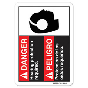 Ansi Danger Sign Danger Hearing Protection Required bilingual Spanish