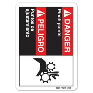 Ansi Danger Sign Danger Pinch Points bilingual Spanish made In The Usa