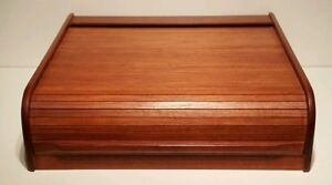 Vintage Mid Century Danish Modern Kalmar Teak Thai Wood Roll Top Desk Organizer