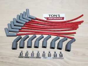 16 Msd 8 5mm Lsx Ls1 Unassembled 45 Degree Spark Plug Boots Wires Red Gray Boot