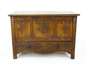 Carved Oak Chest Oak Blanket Box Carved Trunk Oak Coffer Chest B1278