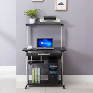 Computer Table Black Desk Laptop Rolling Stand Home W printer Furniture Shelf