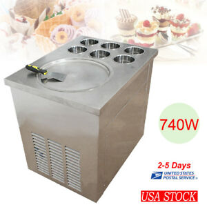 Commercial Fried Ice Cream Machine 1 Pan 6 Boxes Ice Crean Roll Making Machine