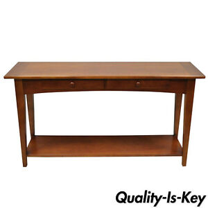 Stanley Cherry Wood Arts Crafts Mission Style 54 Console Sofa Hall Table