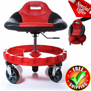 Rolling Mechanic Chair Mobile Gear Tool Work Stool Garage Tray Creeper Heavy New