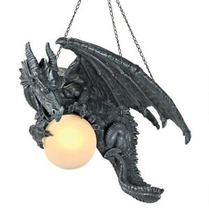 15 5 Gothic Scaled Dragon Guarding The Castles Prized Lighted Orb Hanging