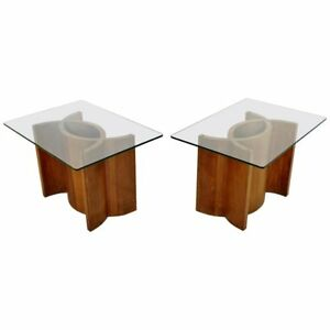 Mid Century Modern Pair Sculptural Wood Glass Side End Tables Kagan Style