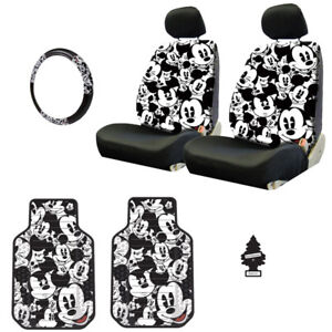 For Vw New Mickey Car Truck Suv Seat Covers Headrest Floor Mats Full Set