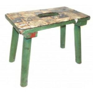 Vintage Homemade Water Cricket Bench Step Stool Green Shabby Painted Wood