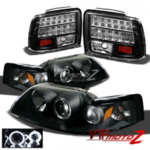 Black Ccfl Halo Projector Headlight Led Tail Light 99 2004 Ford Mustang Gt 5 0