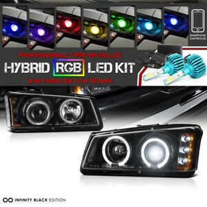 Multifunction Rgb Cob Lamp 03 06 Chevy Silverado Black Halo Projector Headlight