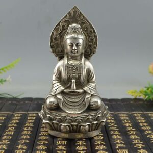 Tibet White Copper Silver Boundless Mercy Avalokiteshvara Guanyin Bronze Statue