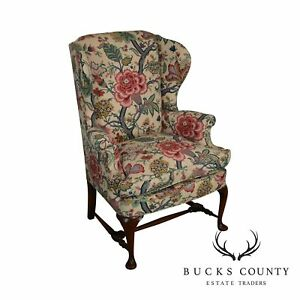 Queen Anne Custom Quality Floral Upholstered Vintage Wing Chair