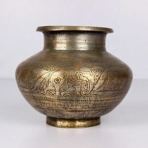 1900s Indian Antique Hand Crafted Engraved Brass Water Pot Lota